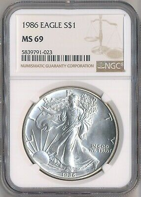 1986 American Silver Eagle $1 Dollar NGC MS69 -