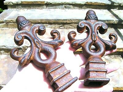 TWO cast iron finials Architectural Sealed rust finish