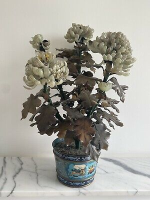 Vintage Antique Chinese Jade Bonsai Tree in cloisonne Flower Pot