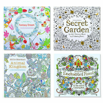 Adult Kids Colouring Book Therapy Stress Relieving Garden Modern Arts Pattern