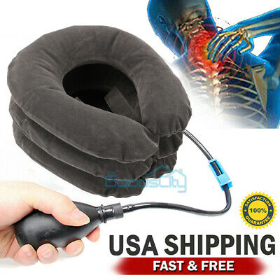US Air Inflatable Neck Pillow Cervical Head Traction Collar Support Brace Device