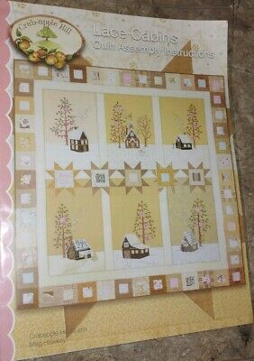 Lace Log Cabins Full Set by Meg Hawkey From Crabapple Hill Studio 6 Embroidery Patterns /& Quilt Assembly Pattern