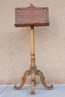 Antique Ornate Wooden Music Stand Adjustable