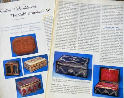 9p History Article + Pics - Antique Cabinerworker Art - Ladies Sewing Workboxes