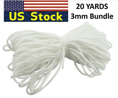 Round Elastic Cord Band String For DIY Make Face Mask Trim Spandex 3mm 20Yard US