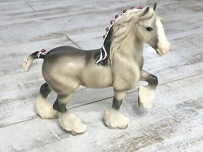 Retired Shire Breyer: 2002 #627 Light Dapple Grey BLAZE Variation Red Ribbons