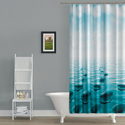 """Textile Shower Curtain /"""" Bamboo With Stone /"""" 220 x200cm Green White"""