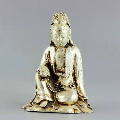 China Old Miao Silver Hand-Carved Bring Luck Guan Yin Buddha Vintage Statue