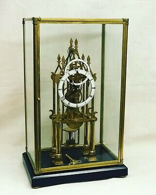 Skeleton Clock With Fusee Movement & Subsidiary Dial Under Case. Working Order