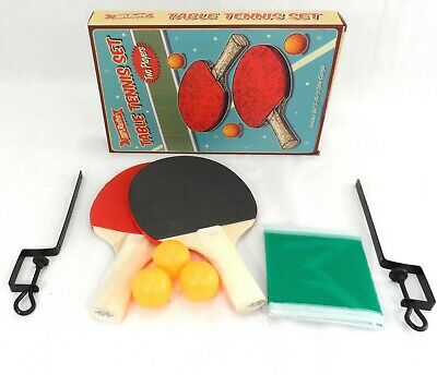 Pro 2 Player Table Tennis Ping Pong Set  3 Balls Two Paddle Bats Net Clamps Game