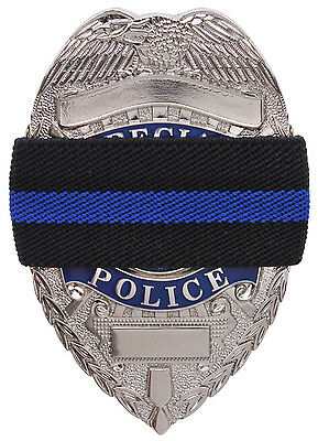 Black Thin Blue Line Elastic Police Officer Badge Mourning Tape Rothco 1004