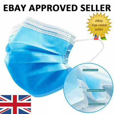 10 20 50 100 x Disposable Face Masks 3-ply Mouth Guard Face Mask Cover Protect
