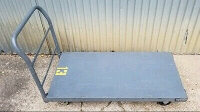 "Steel Deck Platform Truck 48""×24"" 2000 Lb Capacity With Rubber Casters"