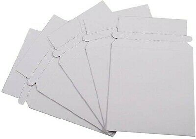50 CD/DVD White Cardboard Mailers, Self Seal Mailers with Flap (5 5/8 x 6 1/2)