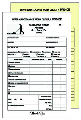 200 Lawn And Gardener Work Order Invoice - Numbered 2 Part Carbonless