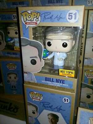 Funko Pop *FREE EcoTEK* Icons BILL NYE with Globe #51 Hot Topic Excl  *IN_HAND*