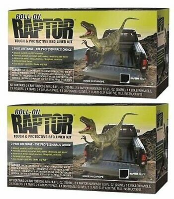 U-POL 5010 Raptor Black 2 Liter Urethane Roll-On Truck Bed Liner Kits, 2-Pack