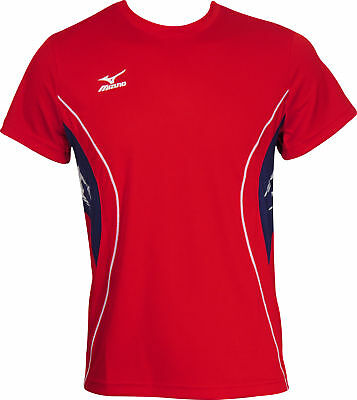 MIZUNO TEAM SHORT Sleeve Mens Running Top Red EUR 9,94