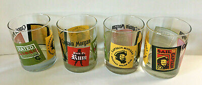 Set of 4 CAPTAIN MORGAN Born To Rum rocks glasses PIRATE lowball bar tumblers