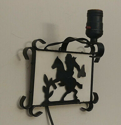 Vintage Mid Century Black Wrought Iron Cowboy Horse Silhouette Wall Light Sconce