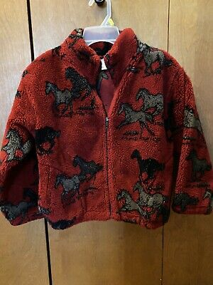 Horse Fleece Kids Jacket size XL SIZE 8 (KIDS) Perfect For A young HORSE LOVER!