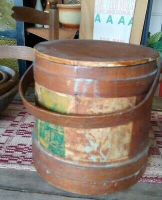 Antique Primitive Wooden Firkin Large Pantry Box Farmhouse