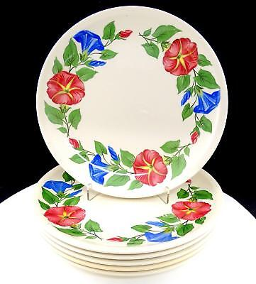 "Paden City Pottery 6 Pc Shenandoah Ware Morning Glory 9 3/8"" Luncheon Plates"