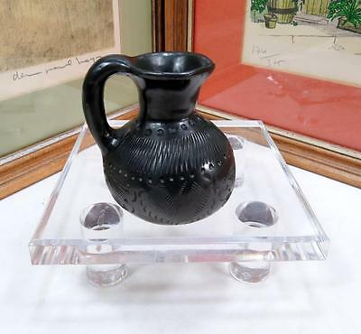 "Antique Blackware Pottery Zigzag Lines And Dots 3 1/8"" Mini Jug"