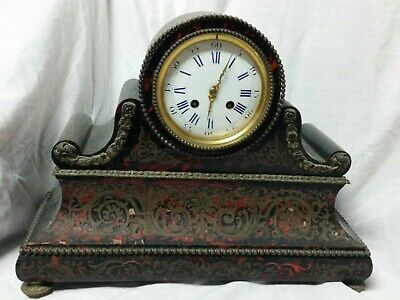 Antique 1870 French Brass Boulle Mantle Clock Restoration Required