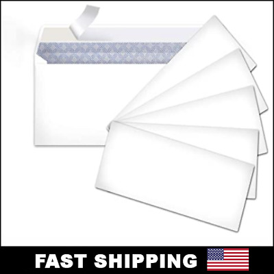 Peel and Self-Seal White Letter Mailing Envelopes Security 4-1/8 x 9-1/2 No #10