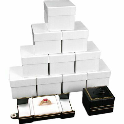 12 Black Leatherette Snap Closure Ring Boxes Displays