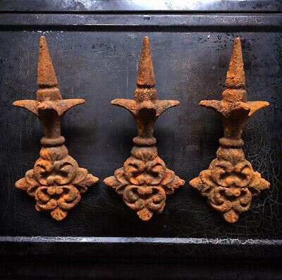 3 Antique French Cast Iron Post Railing Finials Decorative Rusty salvage