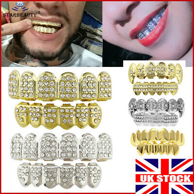 Iced Gold Grill Tooth Clip Full Mouth Plated Teeth Cap Grills Bling Hip Hop UK