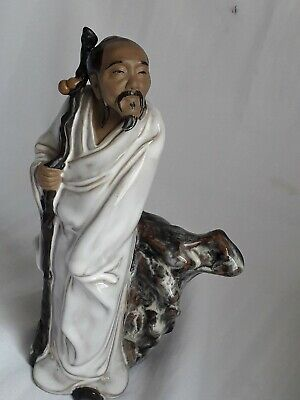 "Chinese Shiwan Glazed Figurine  Mudman with Animals- 8"" or 20cm - Unusual"