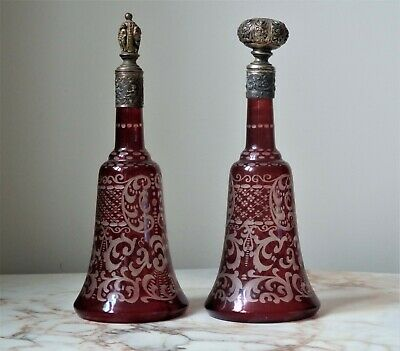 A Pair Of Antique Bohemian Ruby Scent Perfume Bottles For Restoration