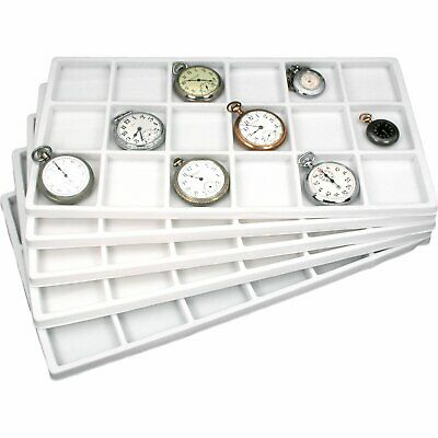 """18 Compartment Display Tray Inserts White 14 1/8"""" 5Pcs"""