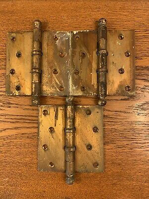"3 Antique Vintage 4.5"" Solid Brass Ball Top Heavy Door Hinges W/ Ball Bearings"