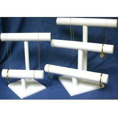 3 & 2 Tier White Faux Leather T-Bar Displays