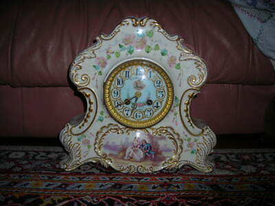Lovelyhand Painted Antique Mac Donald Baltimore French Porcelain Clock 12X11X6