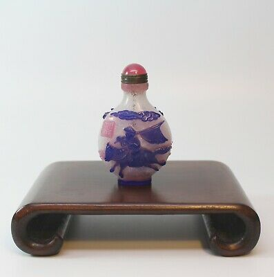 Superb Antique Peking Glass Overlay Snuff Bottle, China, Inscribed