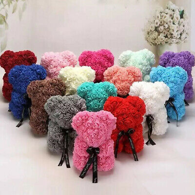 New 25cm Lovely Rose Flower Bear Toys Teddy Birthday Valentine Lovers Gift girl