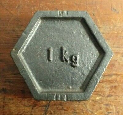 Vintage Hexagonal Shaped Cast Iron 1kg Weight
