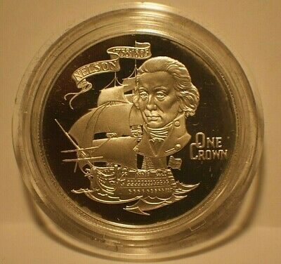 1980 Gibraltar NELSON 175TH ANNIVERSARY  1 Crown Sterling Silver Proof KM12a
