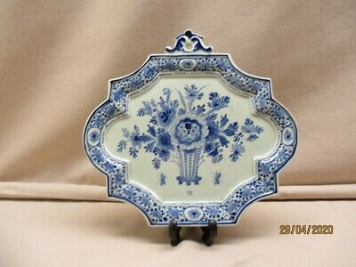 Delft blue&white hand painted antique plaque marked Porceleyne Fles, year.1918.