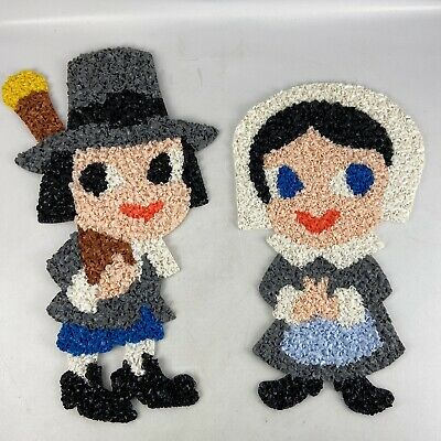 Set of 2 Its in the Bag Pilgrim Rag Doll Couple Wall Hanging Thanksgiving Harvest Decorations