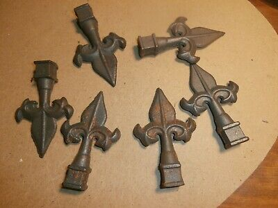 """6 Cast Iron Spear Type Railing Finials for 1/2"""" Square Bar"""