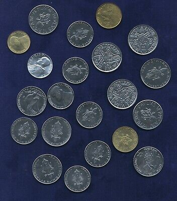 VATICAN CITY  10 to 200 LIRE COINS, MOSTLY UNCIRCULATED MODERN GROUP LOT OF (21)