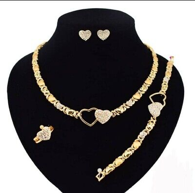 "HUGE & KISSES Necklace With Bracelet 18"" Xo Earrings & Ring 18k Layered"