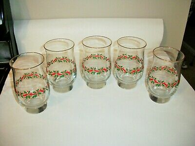 5 Arby's Libbey Christmas Holly Berries Glasses Tumblers
