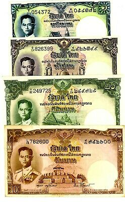 Thailand ... P-74d-77d ... 1-20 Baht ... ND(1953-56) ... VF+ to*XF+* 4 Notes.